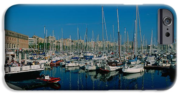 Sailboats iPhone Cases - Sailboats At A Harbor, Barcelona iPhone Case by Panoramic Images