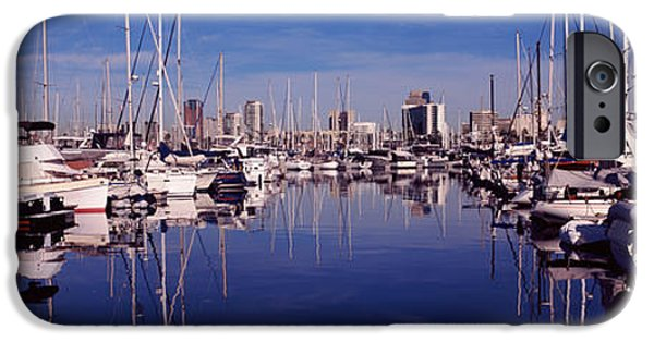 Sailboat Ocean iPhone Cases - Sailboats At A Harbor, Long Beach, Los iPhone Case by Panoramic Images