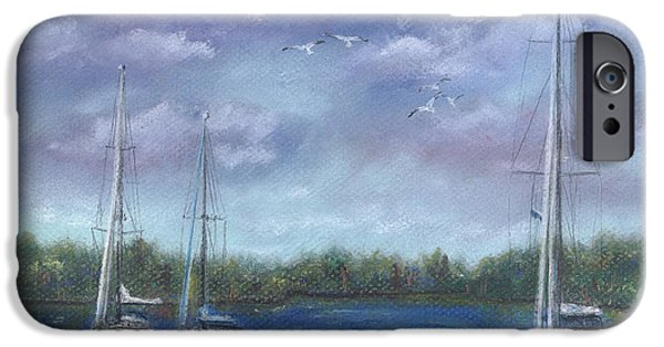 Sailboats Pastels iPhone Cases - Sailboats at Anchorage iPhone Case by Alice Brunner