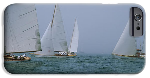 Sailboats iPhone Cases - Sailboats At Regatta, Newport, Rhode iPhone Case by Panoramic Images