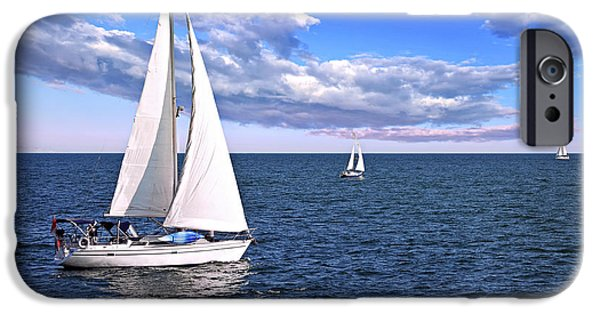Yachts iPhone Cases - Sailboats at sea iPhone Case by Elena Elisseeva