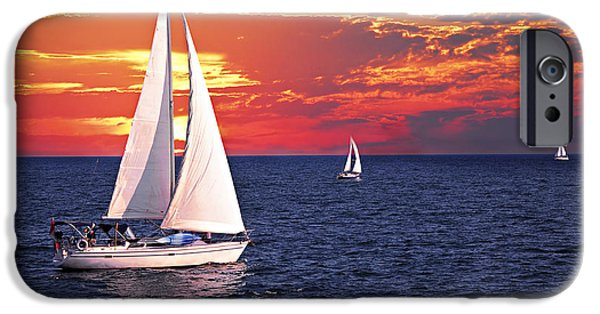 Sail Boat iPhone Cases - Sailboats at sunset iPhone Case by Elena Elisseeva