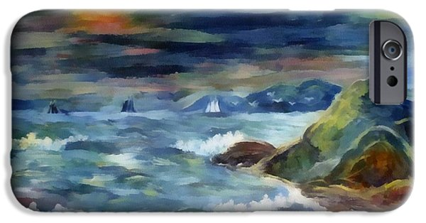 Sailboat Ocean Digital Art iPhone Cases - Sailboats At Sunset iPhone Case by G Bonney