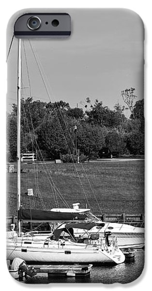 Sailboats Docked at North Myrtle Beach mono iPhone Case by John Rizzuto