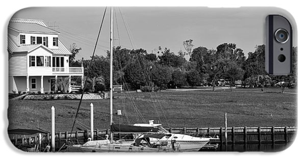 Sailboats Docked iPhone Cases - Sailboats Docked at North Myrtle Beach mono iPhone Case by John Rizzuto