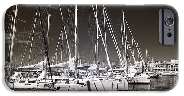 Sailboats Docked iPhone Cases - Sailboats Docked iPhone Case by John Rizzuto