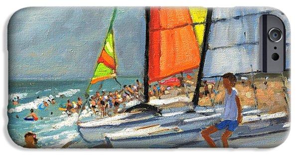 Boat iPhone Cases - Sailboats Garrucha Spain  iPhone Case by Andrew Macara