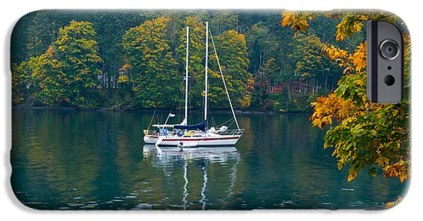 Sailboats iPhone Cases - Sailboats In A Lake, Washington State iPhone Case by Panoramic Images