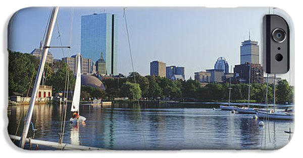 Sailboat iPhone Cases - Sailboats In A River With City iPhone Case by Panoramic Images