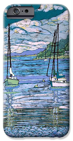 Transportation Tapestries - Textiles iPhone Cases - Sailboats In Harbor  iPhone Case by Terri Haugen