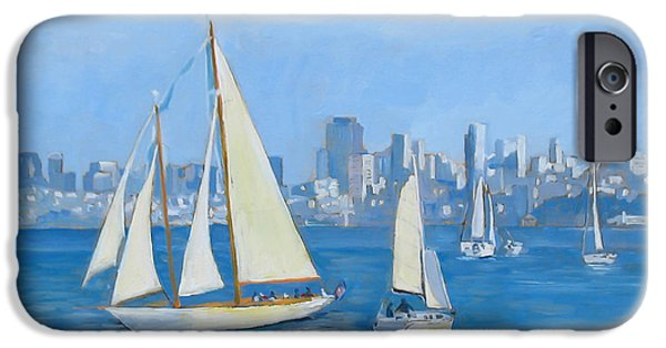 Sausalito Paintings iPhone Cases - Sailboats in Sausalito iPhone Case by Dominique Amendola