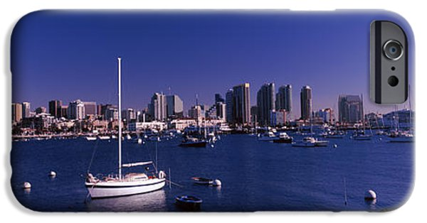 Sailboat iPhone Cases - Sailboats In The Bay, San Diego iPhone Case by Panoramic Images