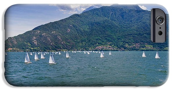 Sailboats iPhone Cases - Sailboats In The Lake, Lake Como, Como iPhone Case by Panoramic Images