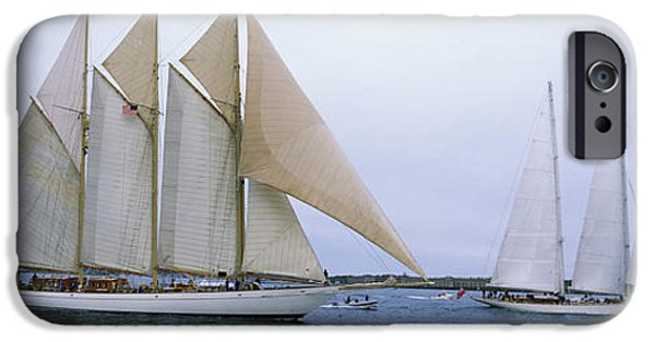 Sailboat Ocean iPhone Cases - Sailboats In The Sea, Narragansett Bay iPhone Case by Panoramic Images