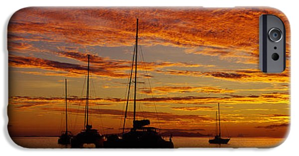 Sailboats iPhone Cases - Sailboats In The Sea, Tahiti, French iPhone Case by Panoramic Images