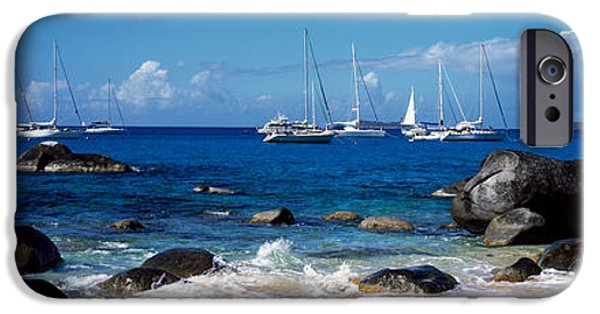 Physical iPhone Cases - Sailboats In The Sea, The Baths, Virgin iPhone Case by Panoramic Images