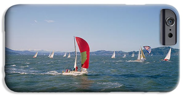 Sailboats iPhone Cases - Sailboats In The Water, San Francisco iPhone Case by Panoramic Images