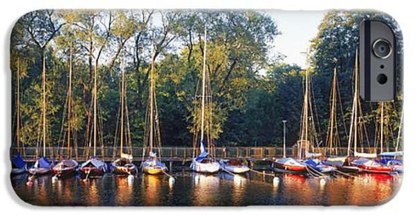 Sailboats iPhone Cases - Sailboats Moored At A Dock, Langholmens iPhone Case by Panoramic Images