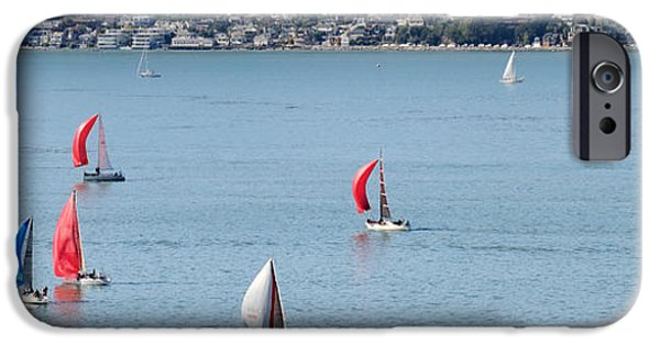 Sailboat iPhone Cases - Sailboats On San Francisco Bay iPhone Case by Panoramic Images