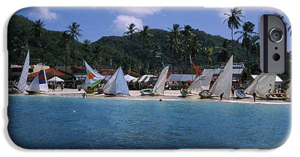 Sailing iPhone Cases - Sailboats On The Beach, Grenada Sailing iPhone Case by Panoramic Images