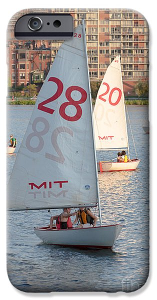 Charles River iPhone Cases - Sailboats on the Charles River I iPhone Case by Clarence Holmes