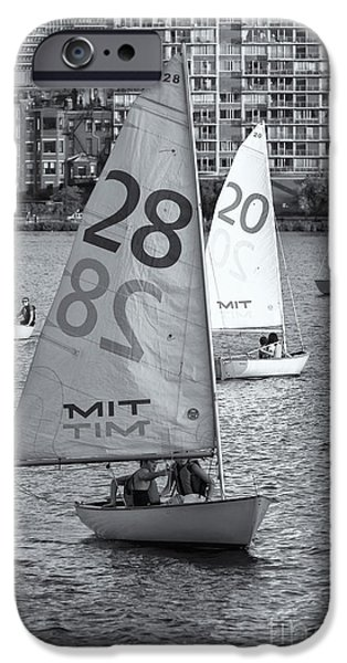 Charles River iPhone Cases - Sailboats on the Charles River II iPhone Case by Clarence Holmes