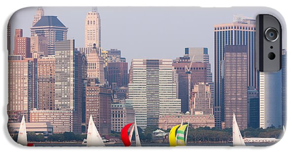 Hudson River iPhone Cases - Sailboats on the Hudson I iPhone Case by Clarence Holmes