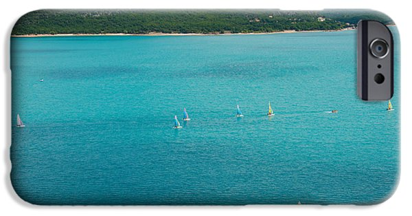 Sailboats iPhone Cases - Sailboats On The Lake, Lac De Sainte iPhone Case by Panoramic Images