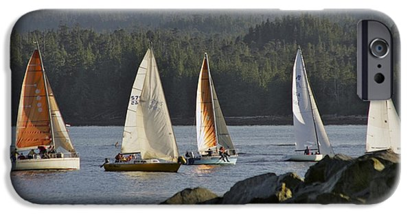 Sailboat Ocean iPhone Cases - Sailboats Race In Competition Near iPhone Case by Clark Mishler