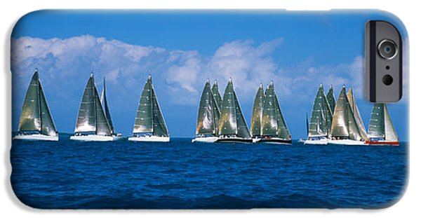 Sailing iPhone Cases - Sailboats Racing In The Sea, Farr 40s iPhone Case by Panoramic Images