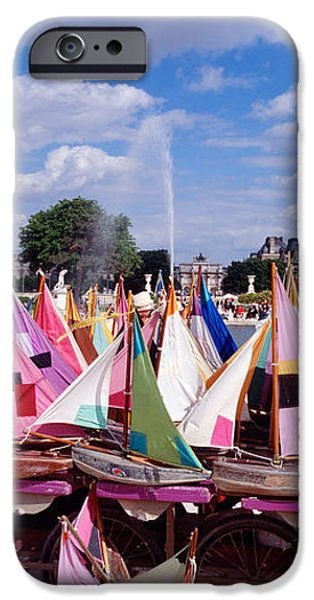 Toy Boat iPhone Cases - Sailboats Tuilleries Paris France iPhone Case by Panoramic Images