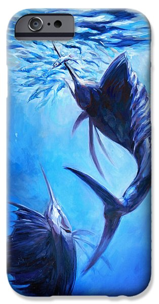 Sailfish Paintings iPhone Cases - Sailfish and Ballyhoo iPhone Case by Tom Dauria