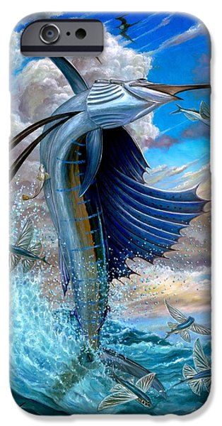 Sailfish And Flying Fish iPhone Case by Terry Fox
