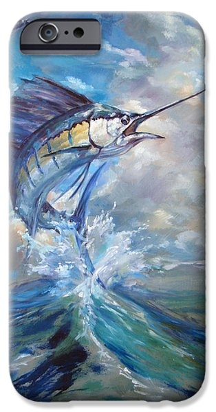 Sun Rays Paintings iPhone Cases - Sailfish and Frigate iPhone Case by Tom Dauria