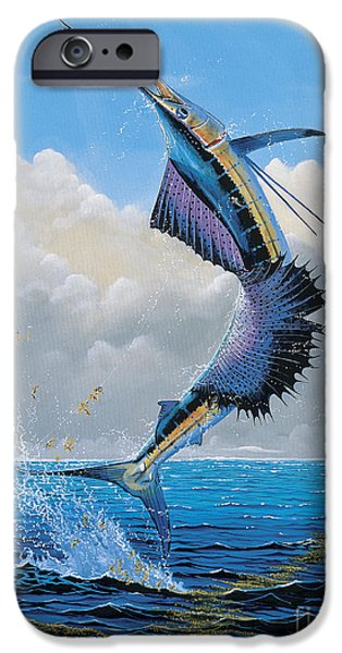 Atlantis iPhone Cases - Sailfish Dance Off0054 iPhone Case by Carey Chen