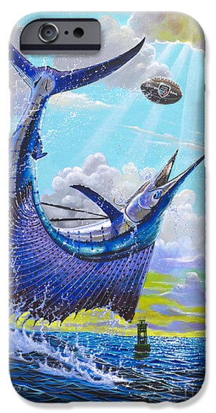 Sailfish Paintings iPhone Cases - Sailfish football Off0030 iPhone Case by Carey Chen