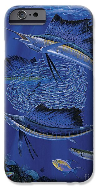 Sailfish Paintings iPhone Cases - Sailfish round up Off0060 iPhone Case by Carey Chen