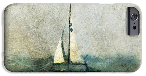 Sailboat Ocean Mixed Media iPhone Cases - Sailin With Sally Starr iPhone Case by Trish Tritz