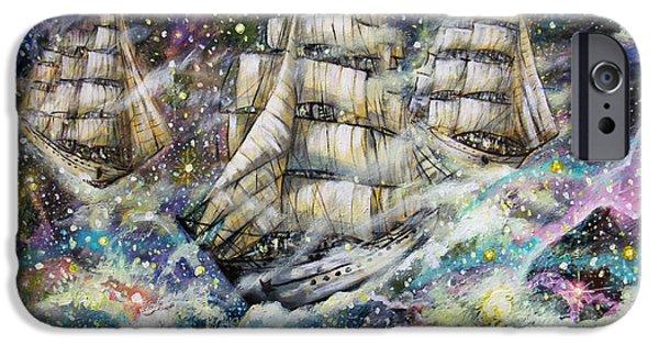 Dark Matter Paintings iPhone Cases - Sailing Among The Stars iPhone Case by Dariusz Orszulik