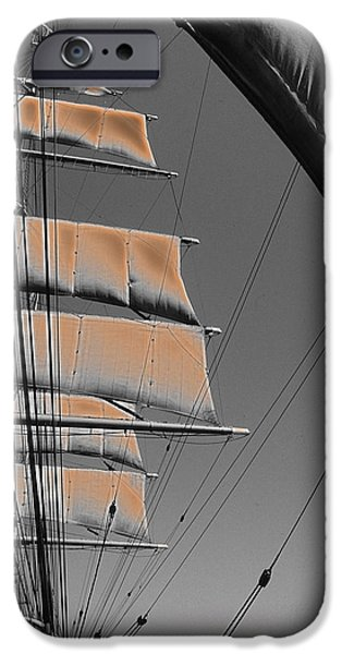 Tall Ship Mixed Media iPhone Cases - Sailing at sunset iPhone Case by Anthony Dalton