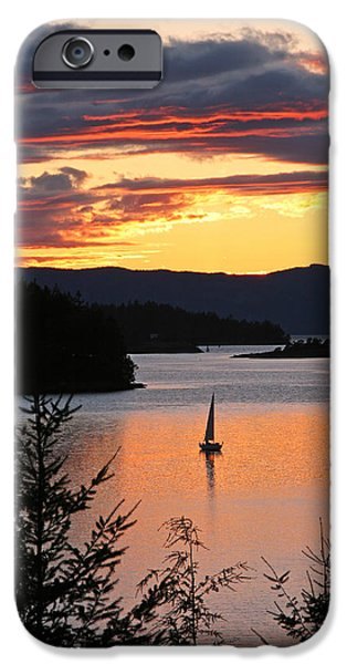 Sailboats iPhone Cases - Sailing at Sunset iPhone Case by Peggy Collins