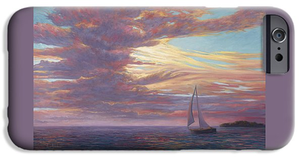 Sailboat Paintings iPhone Cases - Sailing Away iPhone Case by Lucie Bilodeau