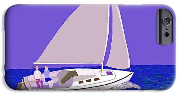 Sailboat Ocean iPhone Cases - Sailing Blue Ocean iPhone Case by Fred Jinkins
