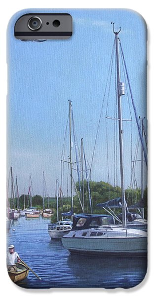 Boats In Water Paintings iPhone Cases - Sailing Boats At Christchurch Harbour iPhone Case by Martin Davey