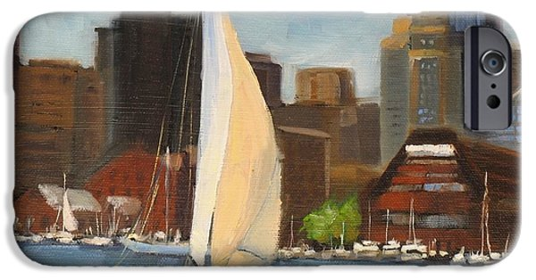 Boston Paintings iPhone Cases - Sailing Boston Harbor iPhone Case by Laura Lee Zanghetti