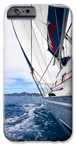 Sailboat Photos iPhone Cases - Sailing BVI iPhone Case by Adam Romanowicz