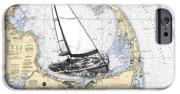 Cape Cod Mixed Media iPhone Cases - Sailing Cape Cod Bay iPhone Case by Jack Pumphrey