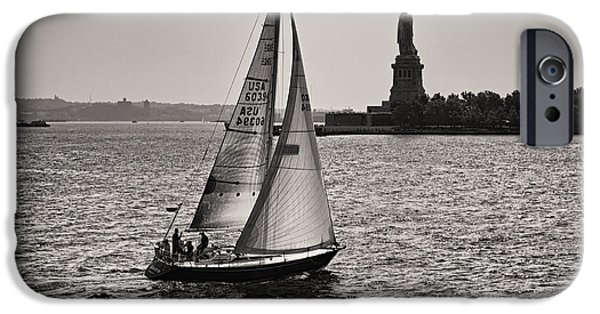 Hudson River iPhone Cases - Sailing down on Hudson iPhone Case by Eduard Moldoveanu