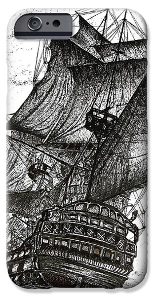 Pirate Ship Drawings iPhone Cases - Sailing Drawing Pen and Ink in Black and White iPhone Case by Mario  Perez