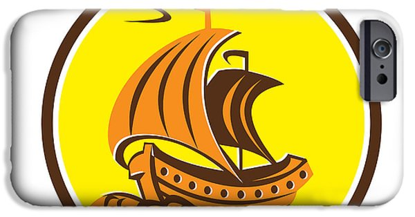Tall Ship iPhone Cases - Sailing Galleon Ship Circle Retro iPhone Case by Aloysius Patrimonio
